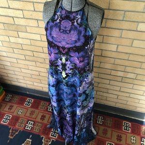 ASOS Backless Floral Maxi Dress Side Slits Long